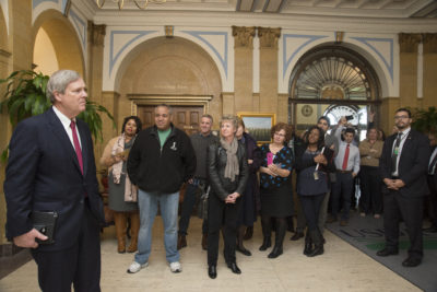 U.S. Department of Agriculture (USDA) employees gathered in the lobby of the Whitten Building to wish Agriculture Secretary Tom Vilsack best wishes upon his departure from the USDA where he has served as Secretary for the past 8 years. Best wished to the Secretary and his family in Washington, DC on Friday, Jan. 13, 2017. USDA photo by Tom Witham.