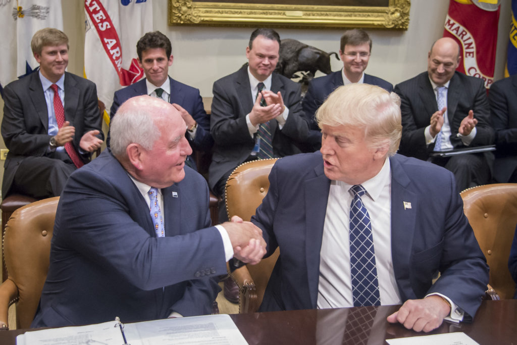 Agriculture Secretary Sonny Perdue attends a Farmer's Roundtable where President Donald Trump signed the Executive Order Promoting Agriculture and Rural Prosperity in America April 25, 2017, at the White House in Washington, D.C.. USDA photo by Preston Keres